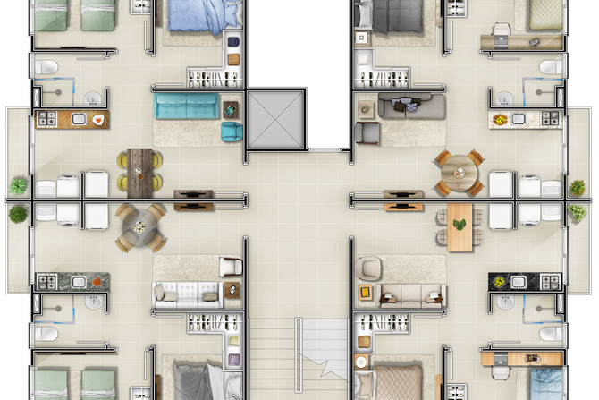 Planta Apartamento 2 quartos minha casa minha vida chapeco